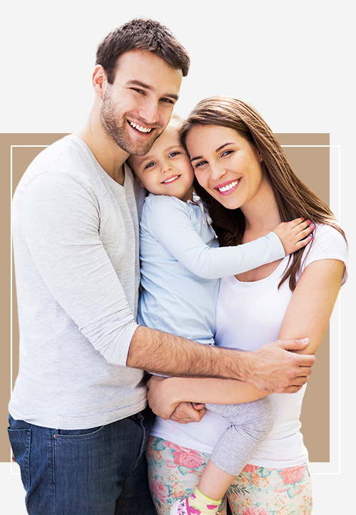 family of three smiling
