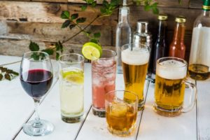alcoholic drinks on a table